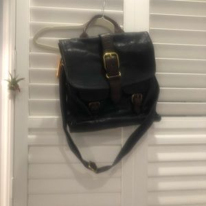 Fossil Navy Leather Satchel